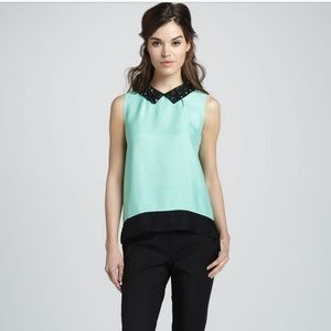 Kate Spade Jeweled Mint Green Harlow Top